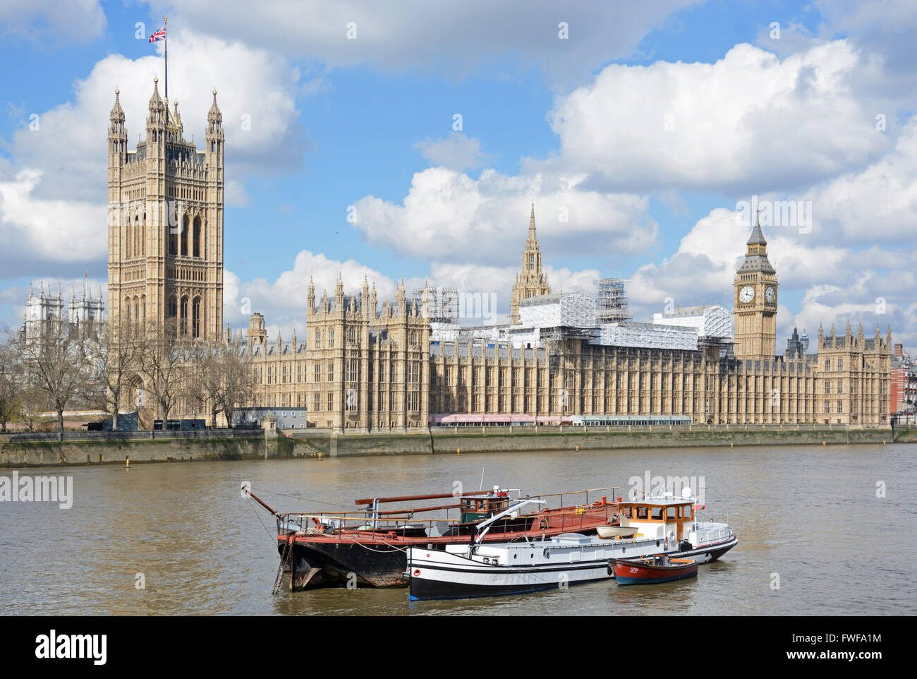 Houses of Parliament, under renovation, London. Stock Photo