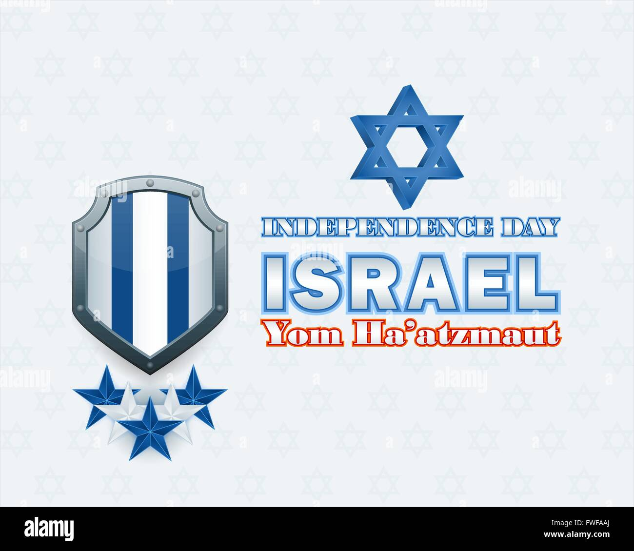 Yom Ha'atzmaut from Hebrew language as Independence day; National Celebration of Israel design background with - Stock Image