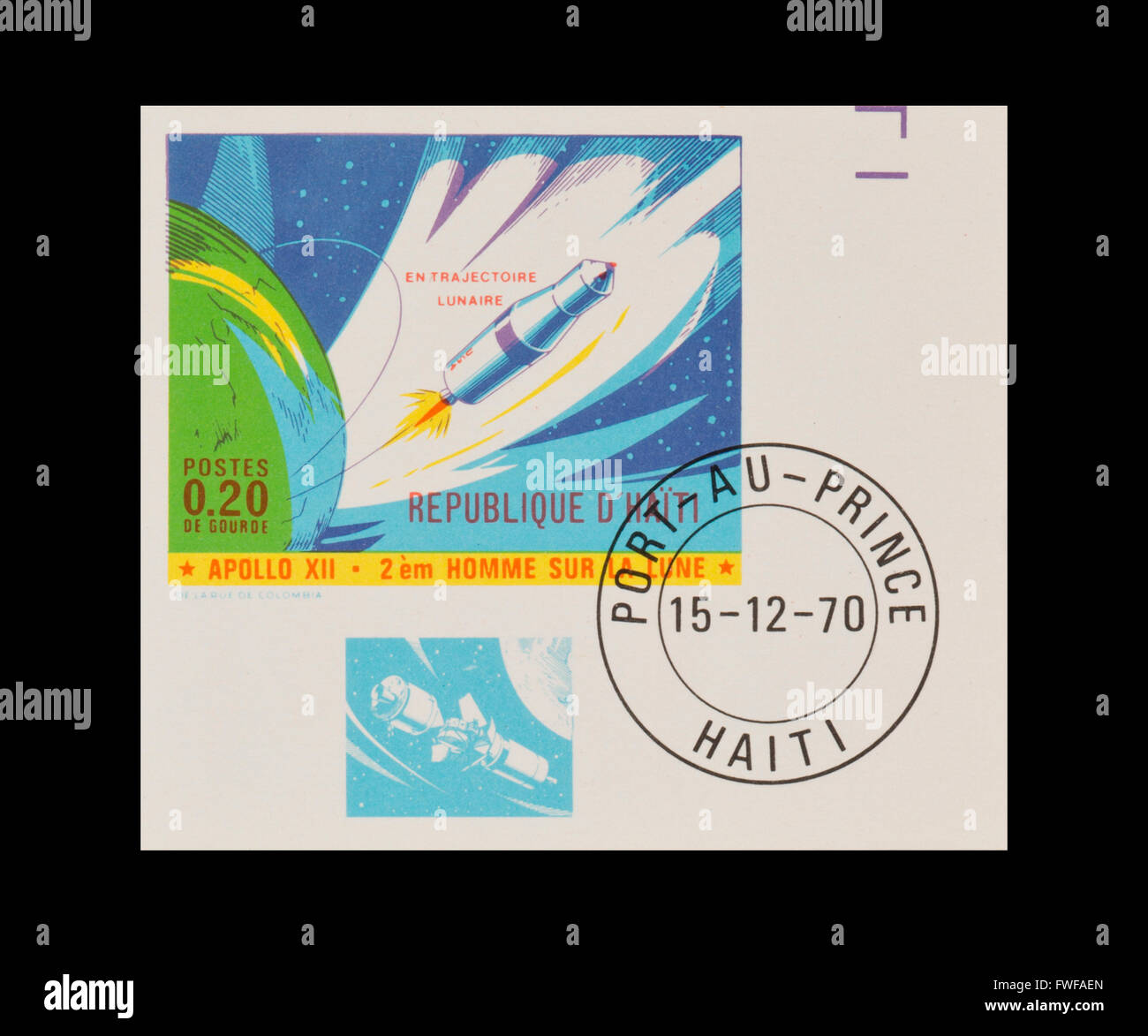 Imperforate stamp from Haiti Apollo 8 separation of the third stage. - Stock Image