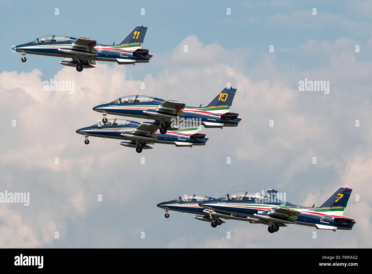 Italian Air Force (Aeronautica Militare Italiana) Aermacchi MB-339 aircraft of the Frecce Tricolori formation display Stock Photo