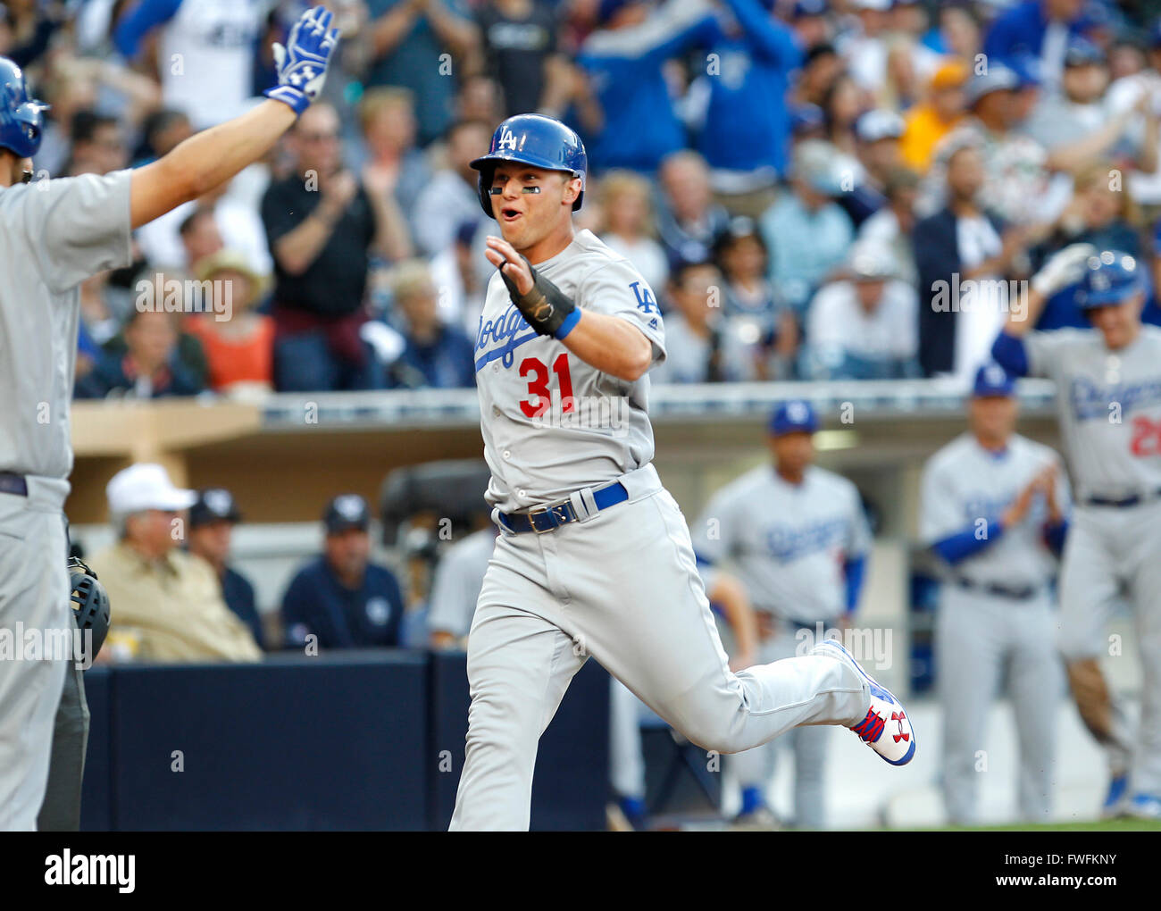 San Diego, California, USA. 4th Apr, 2016. Dodgers Joc Pederson scores on an A.J. Ellis hit in the 6th inning against - Stock Image