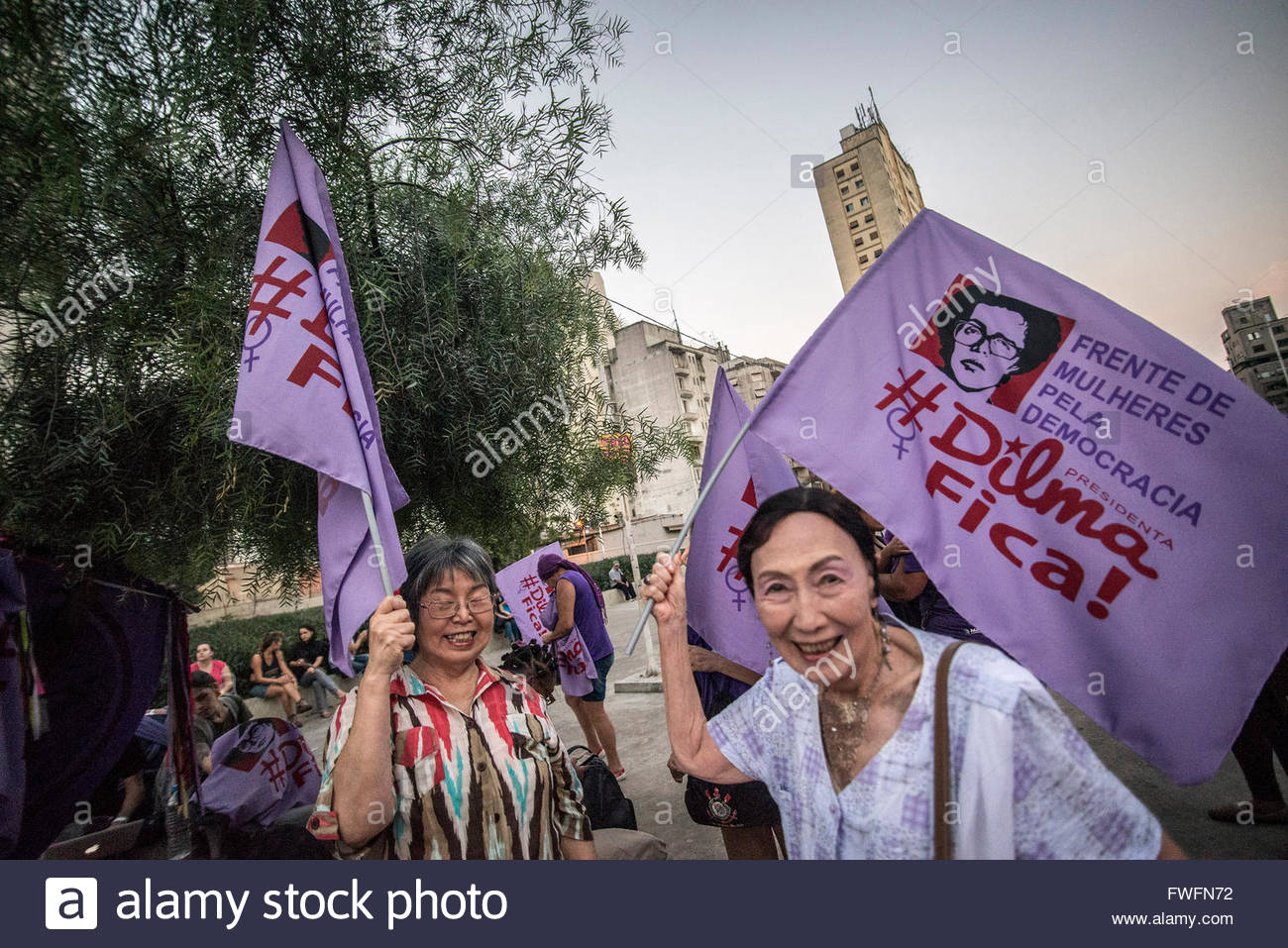 Sao Paulo, Brazil. 5th April, 2016. Women do act for democracy in São Paulo.The event was convened by the Women's - Stock Image