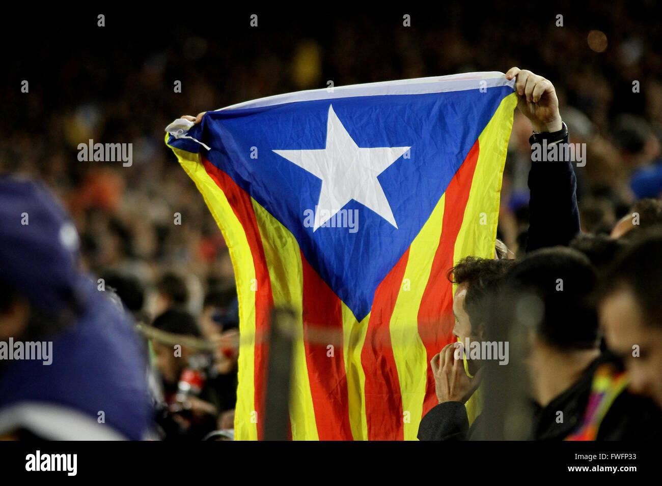 Nou Camp, Barcelona, Spain. 05th Apr, 2016. Uefa Champions League Quarter-finals 1st leg. FC Barcelona against Atletico - Stock Image