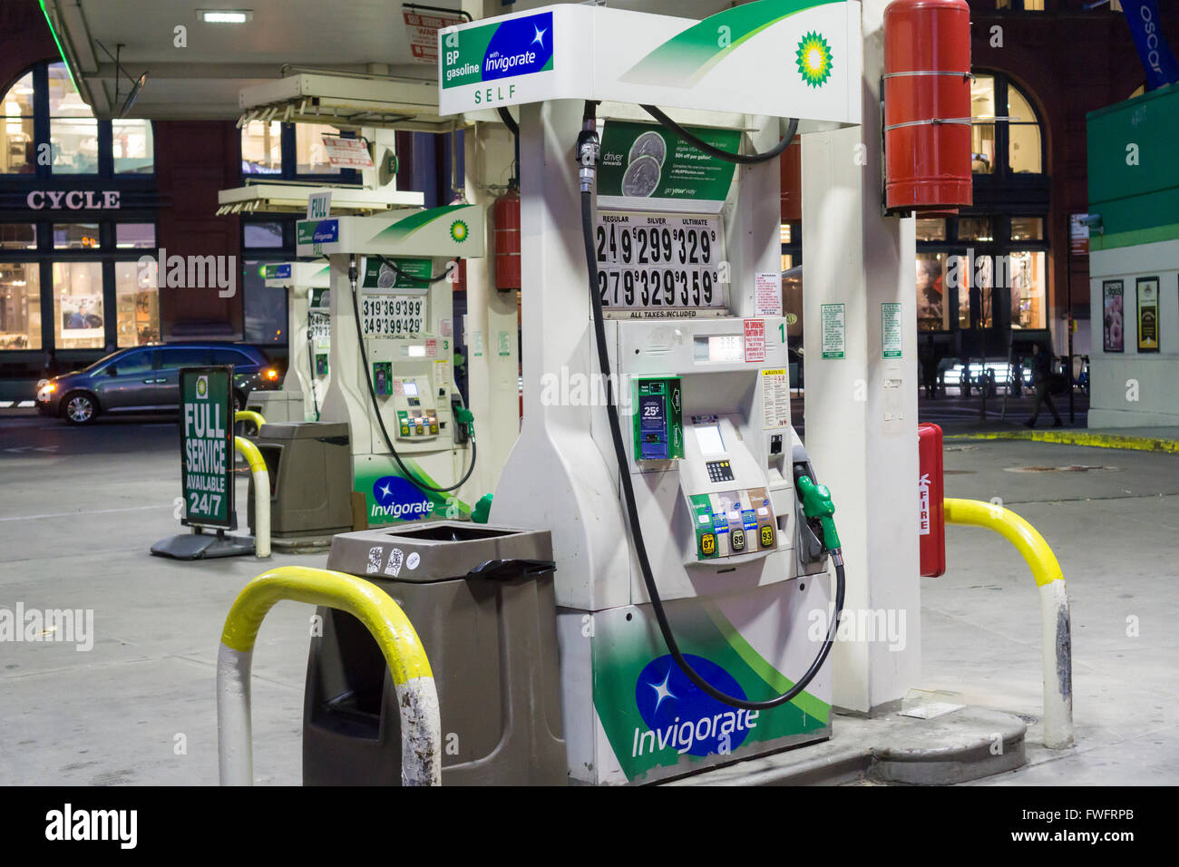The BP gas station on Houston Street in Soho is seen on Tuesday