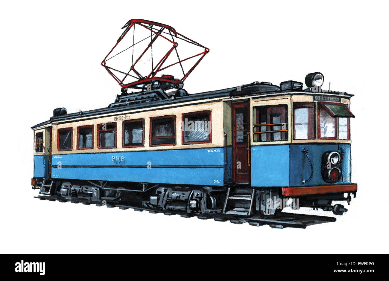 Illustration of an electric locomotive (EKD) by Bohdan Wroblewski - Stock Image
