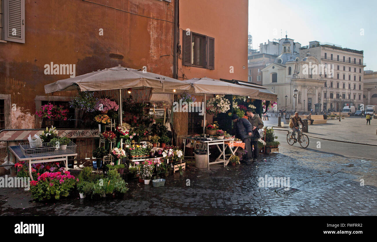 ROME,ITALY: flower stand - Stock Image