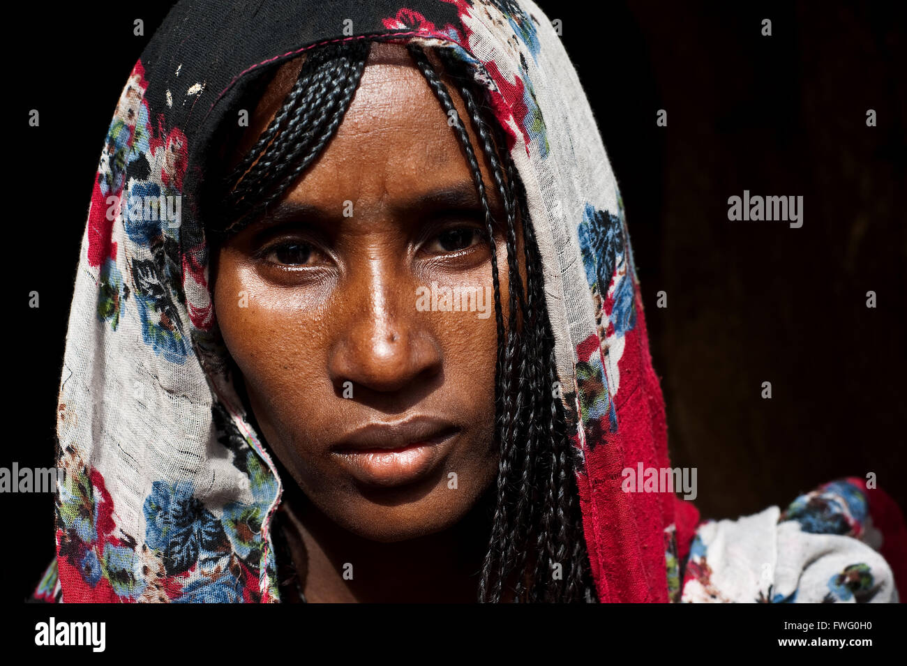 Eritrean female refugee. She belongs to the Afar tribe, she is muslim. - Stock Image