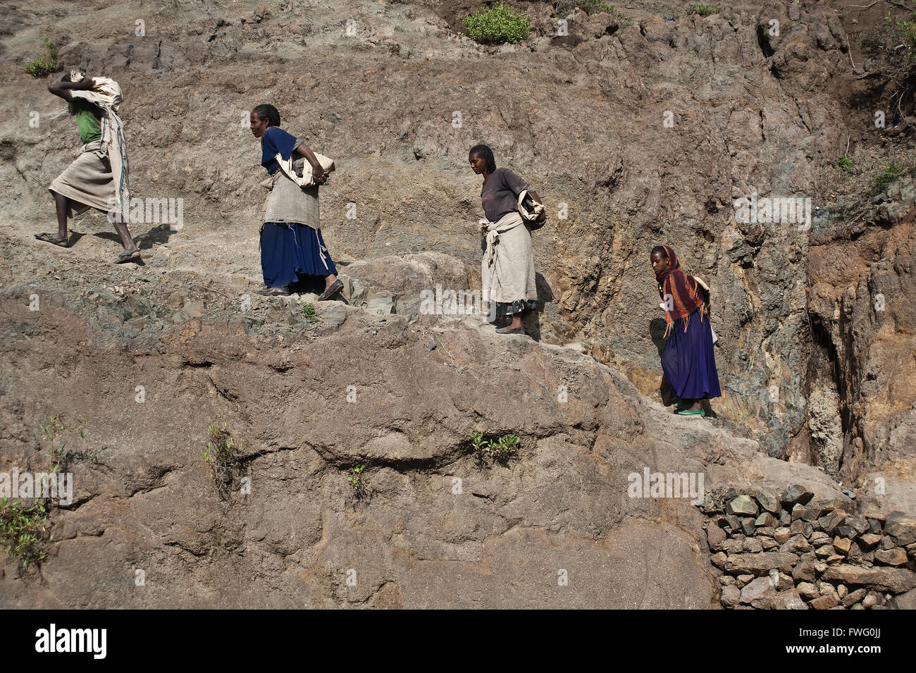 Irrigation works : workers are carrying stones to build an irrigation channel ( Ethiopia) - Stock Image