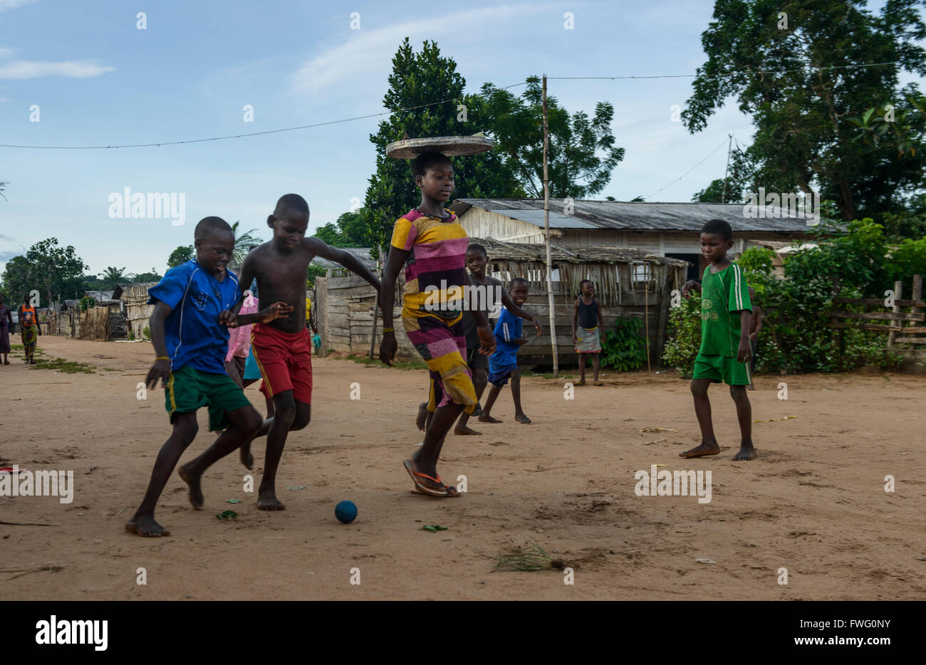 Street football in Bayanga, Central African Republic, Africa - Stock Image