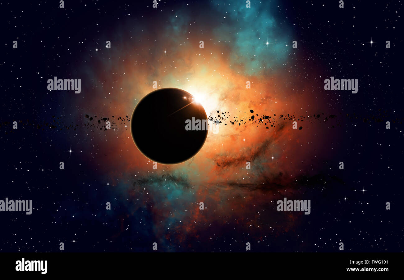 imaginary deep space eclipse nebula with stars and asteroids - Stock Image