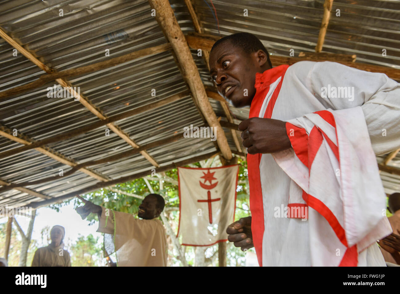 Spiritual healing and mass, Democratic Republic of Congo - Stock Image