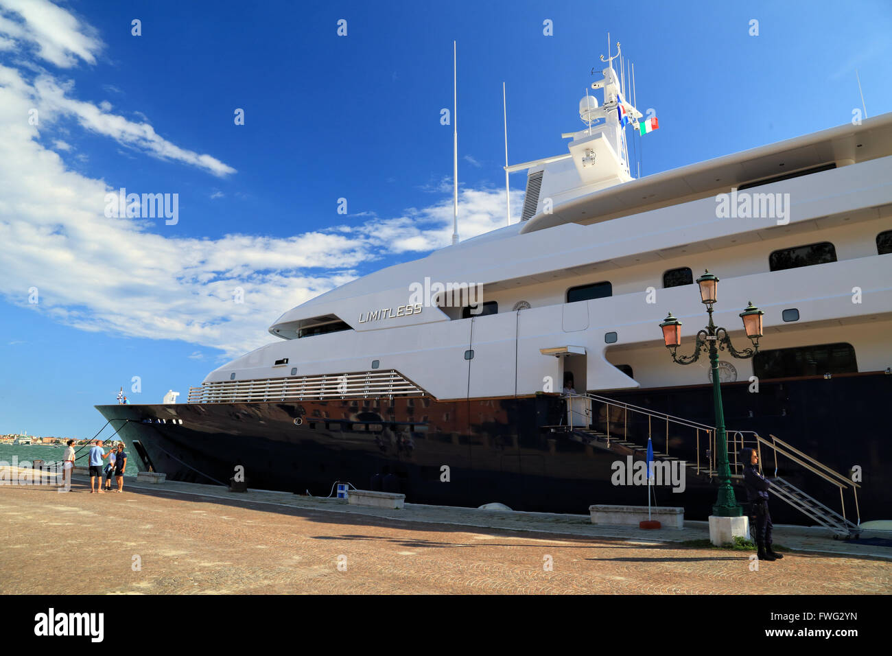 Luxury super mega yacht Limitless, IMO 8975940, owned by Les Wexner - Stock Image