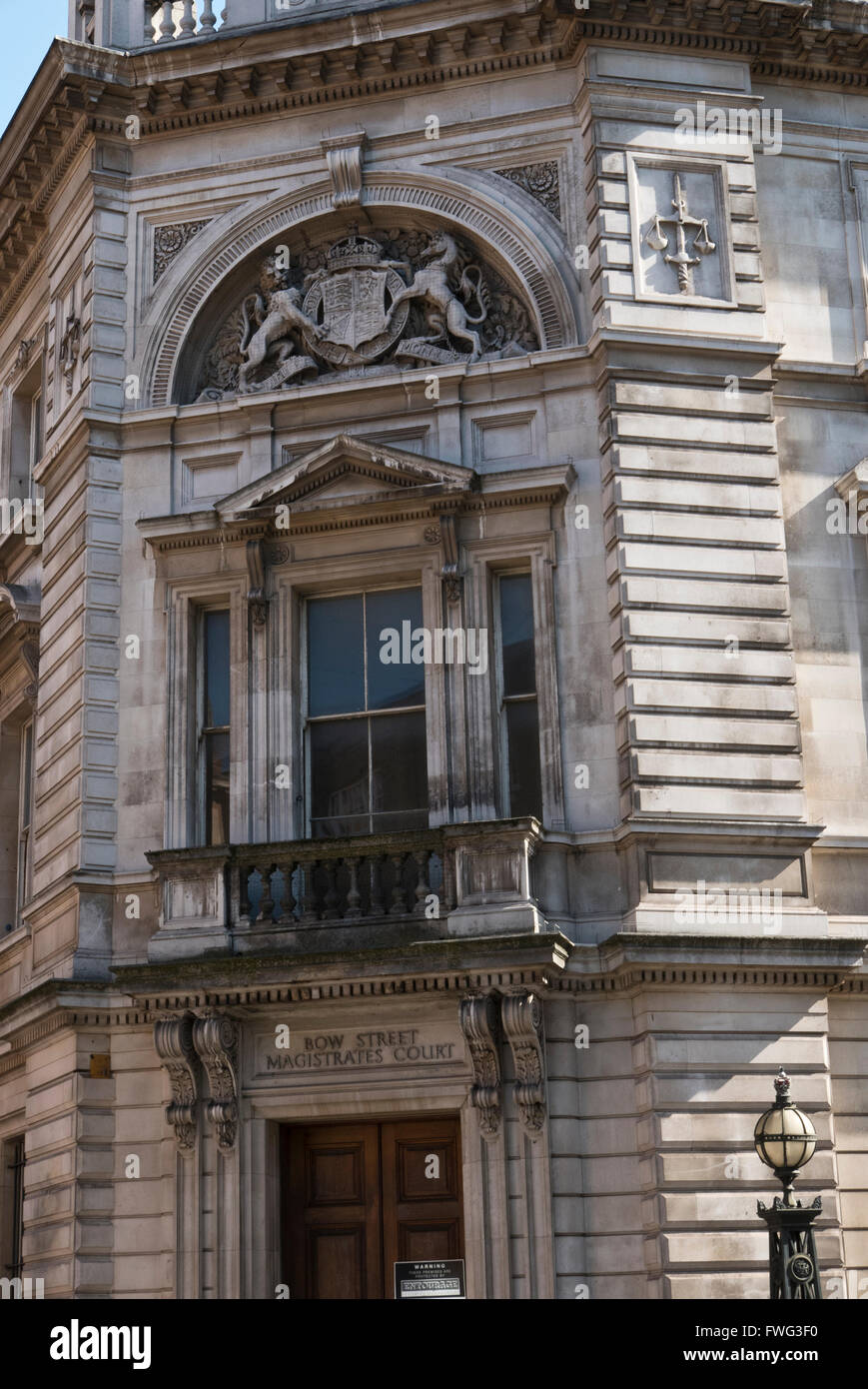 The facade of Bow Magistrate Court in London, United Kingdom. - Stock Image