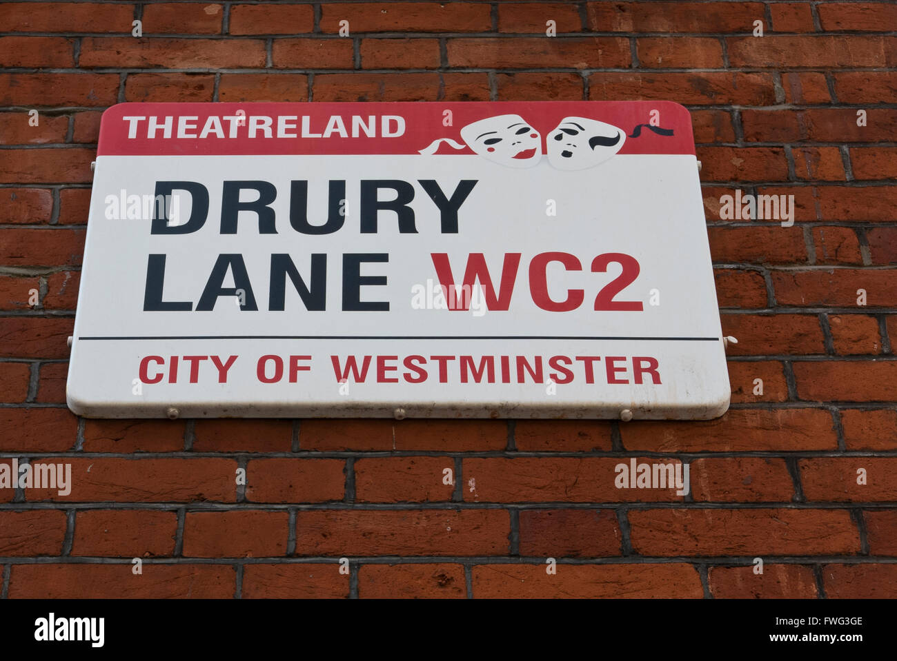 Drury Lane signage in the Theatreland area in London, United Kingdom. - Stock Image