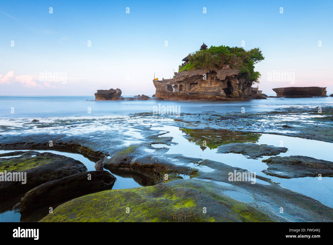Pura Tanah Lot in the morning, famous ocean temple in Bali, Indonesia. - Stock Image
