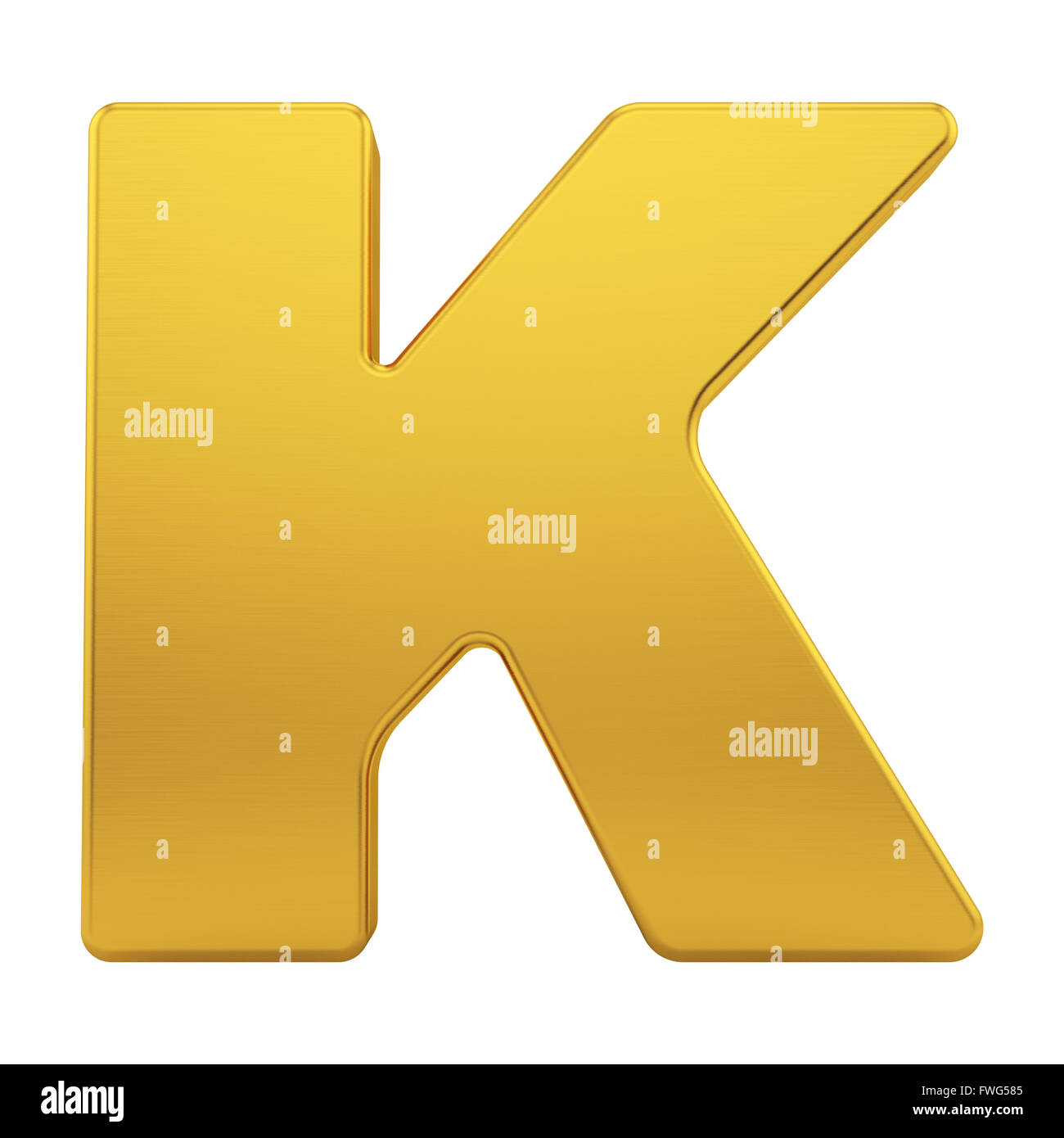 the letter K with brushed gold texture - Stock Image