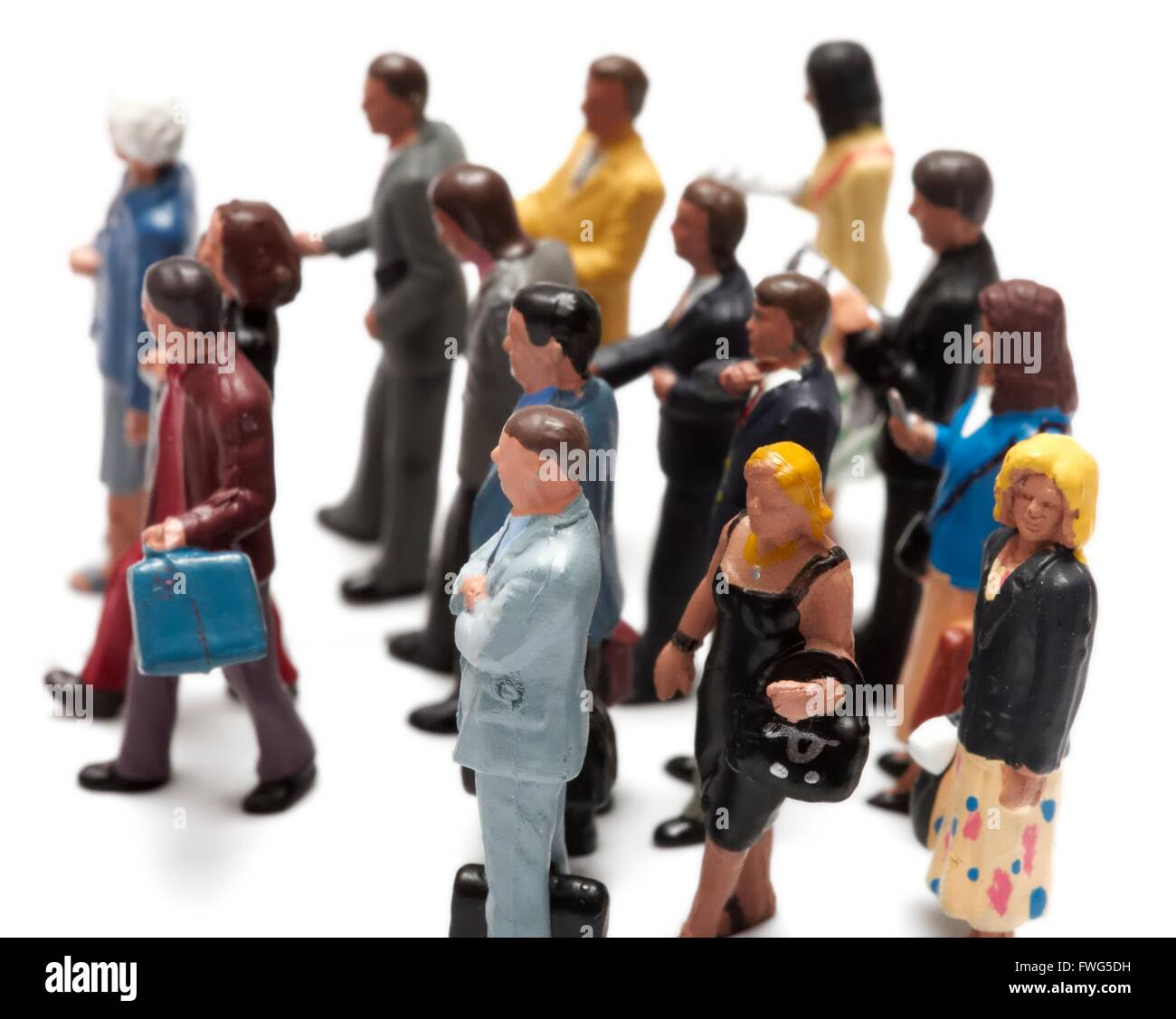 Crowdfunding concept with miniature figurines on a white background - Stock Image