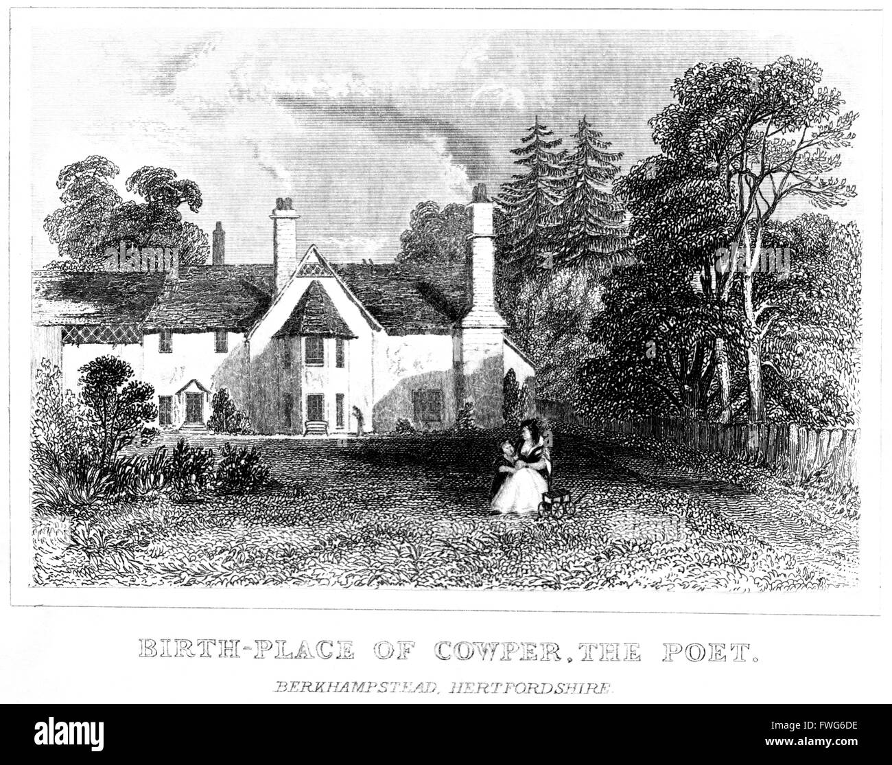 Engraving of the Birthplace of Cowper, The Poet. Berkhamstead, Hertfordshire scanned at high res from a book printed - Stock Image