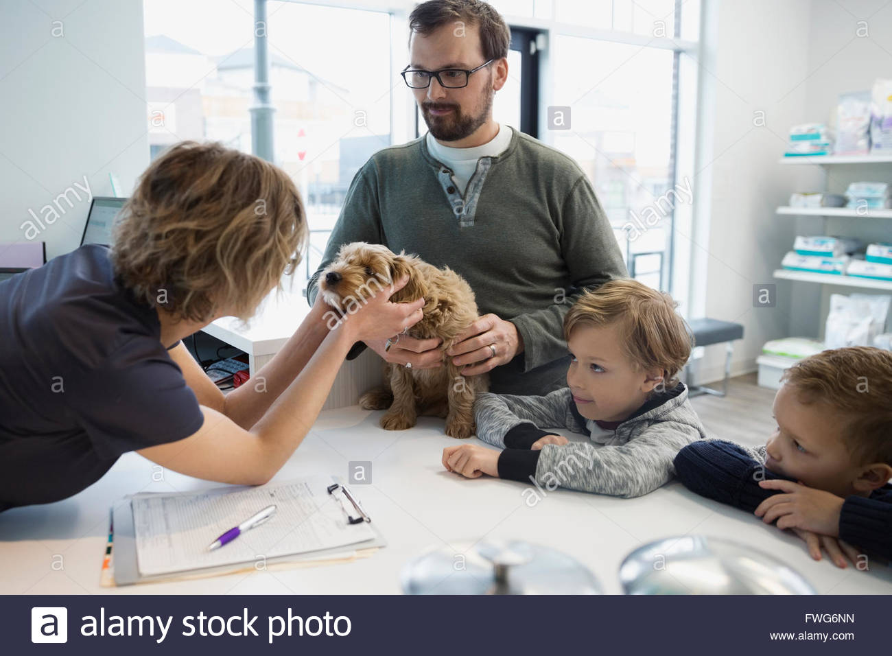 Veterinarian greeting family with dog at reception - Stock Image