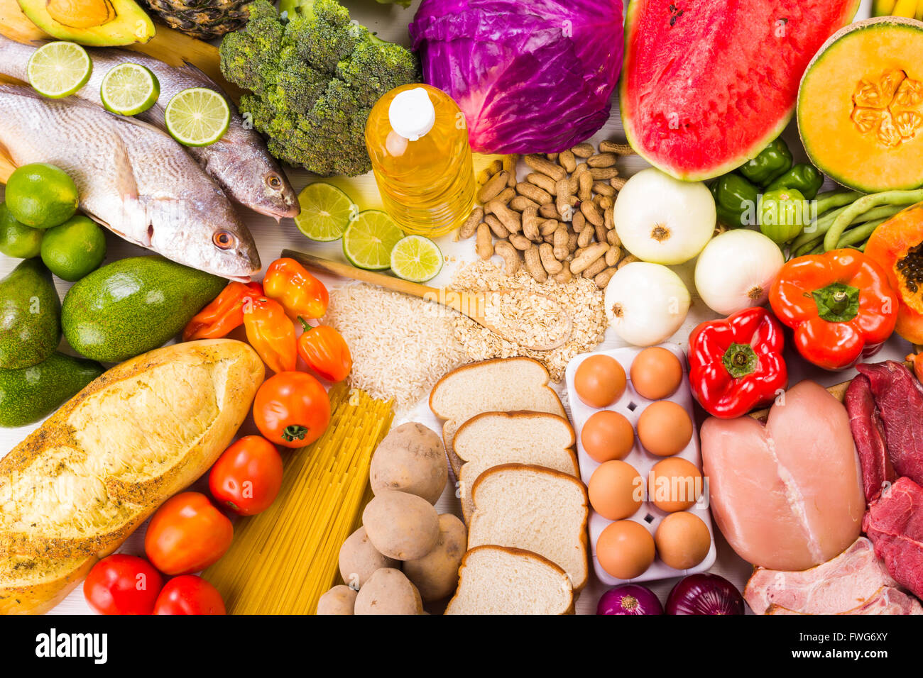 Group of healthy food, the shoot includes protein, carbohydrates, good fats, fruits and vegetables. - Stock Image