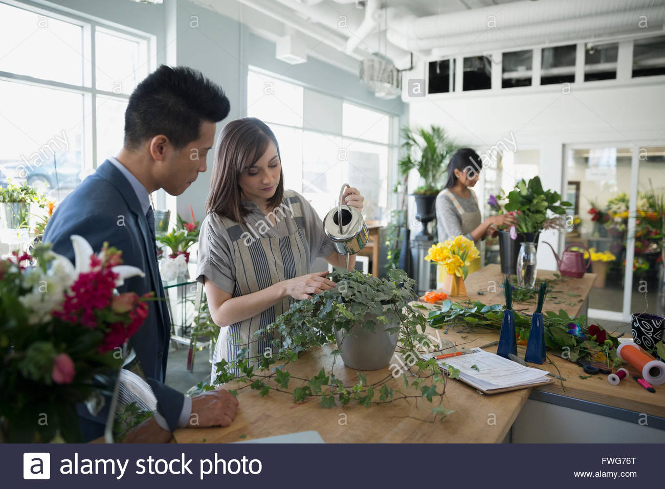 Customer watching florist watering plant in flower shop - Stock Image