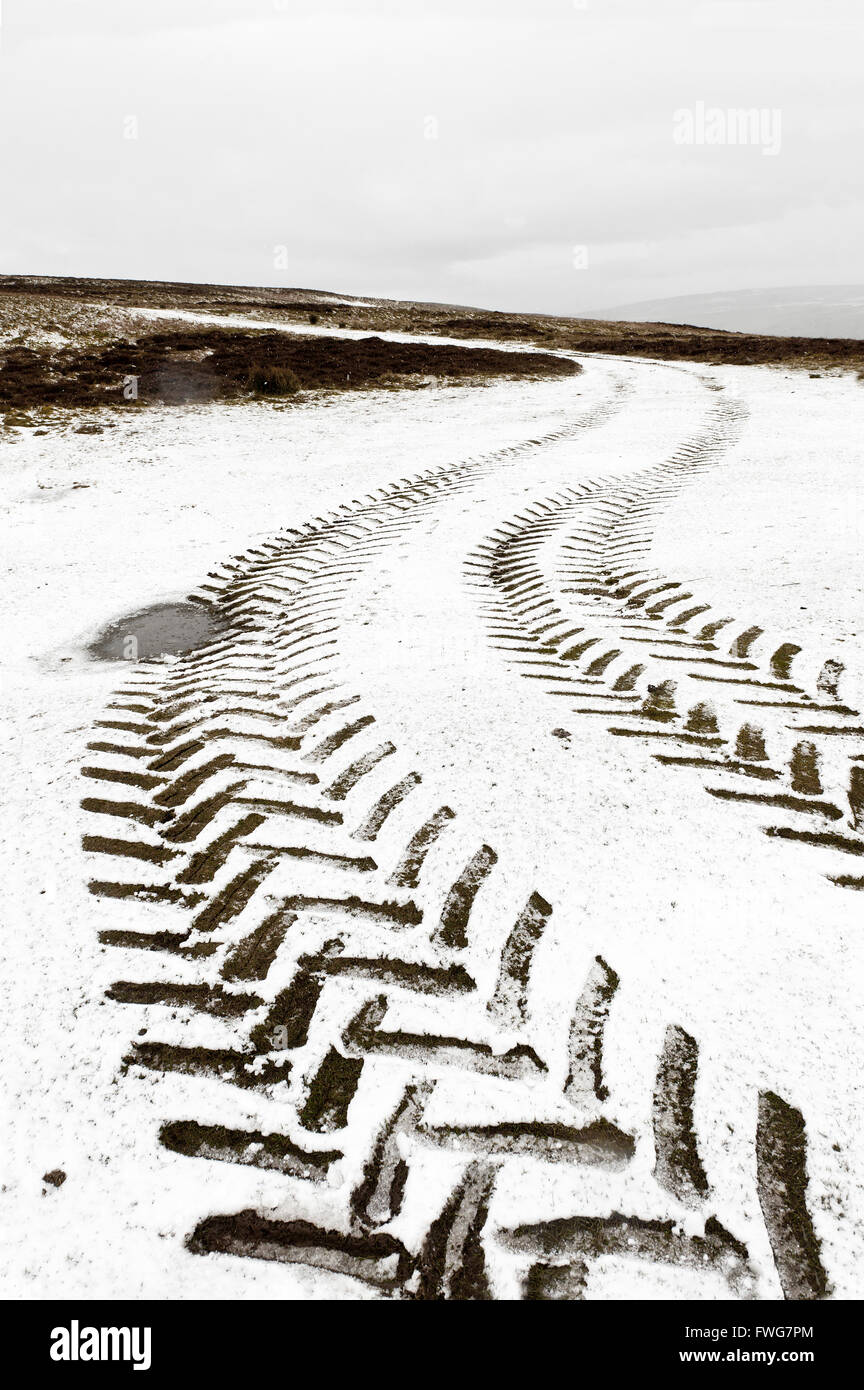 Tractor tyre tracks in wintry landscape in Powys, Wales, UK. - Stock Image