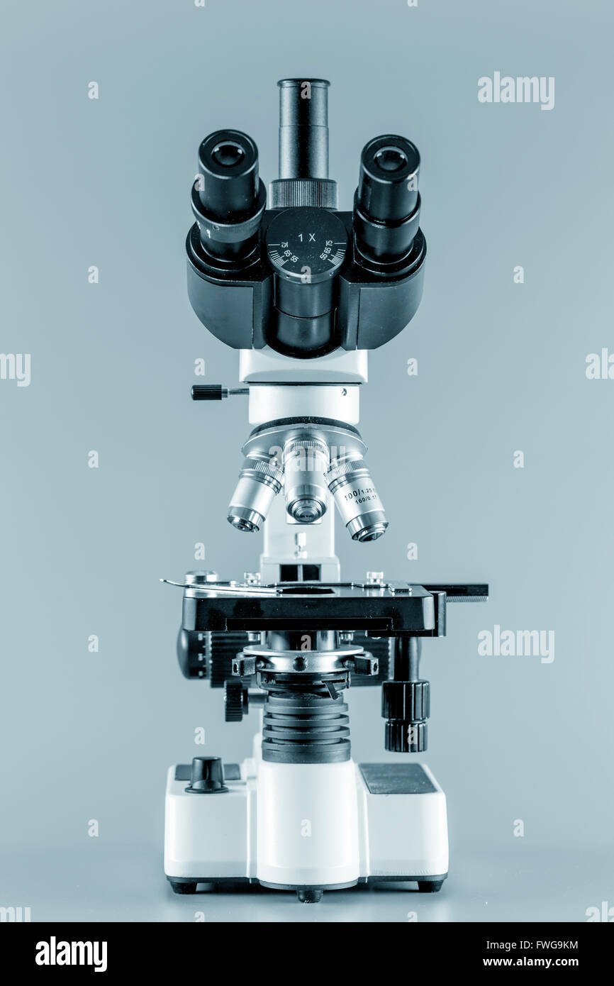 Trinocular microscope against a grey background. - Stock Image