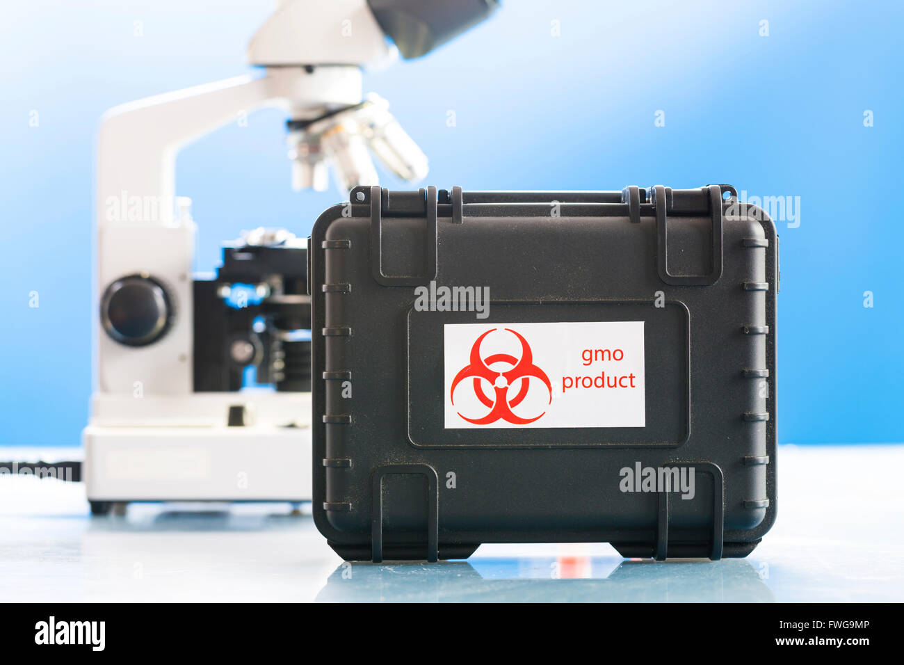 Genetically modified product samples in a protective case. - Stock Image