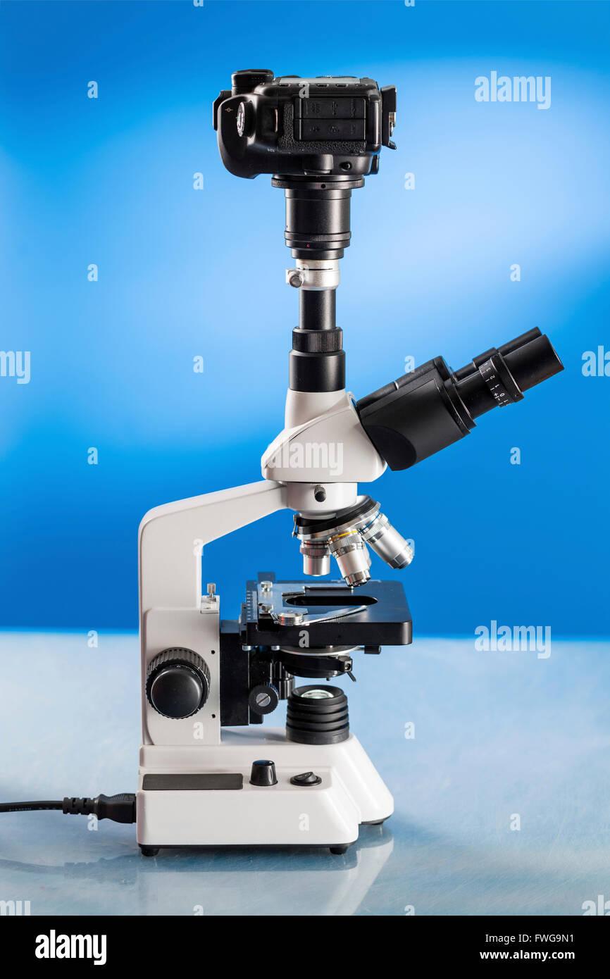 Laboratory microscope with a dslr camera. - Stock Image