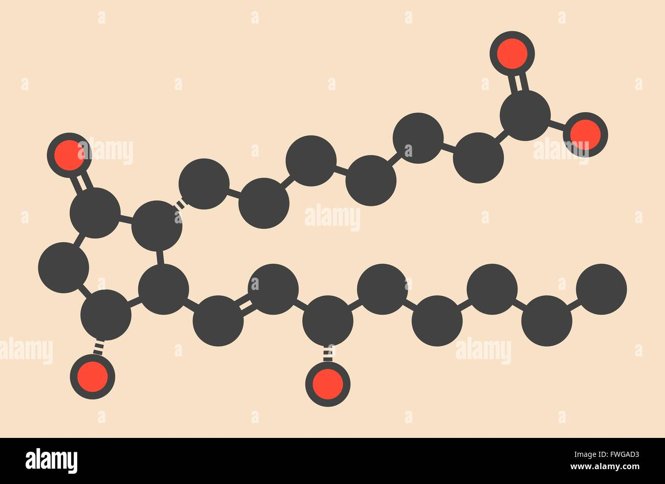 Alprostadil (prostaglandin E1) erectile dysfunction drug molecule Stylized skeletal formula (chemical structure) - Stock Image