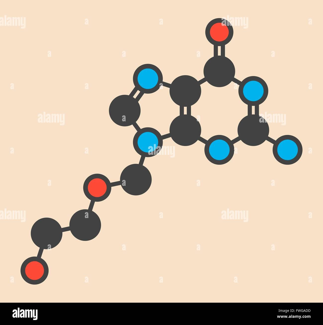 acyclovir (aciclovir) antiviral drug molecule Used in treatment of herpes simplex virus (cold sores) herpes zoster Stock Photo