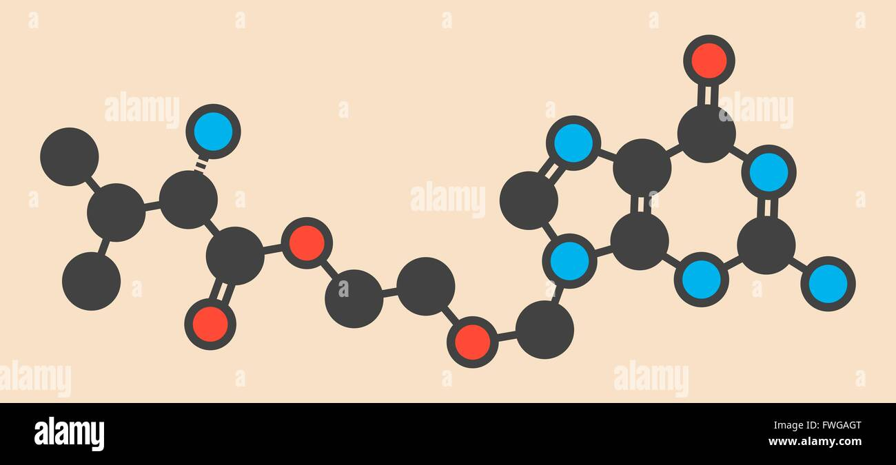 Valaciclovir (valacyclovir) herpes infection drug molecule Stylized skeletal formula (chemical structure) Atoms Stock Photo