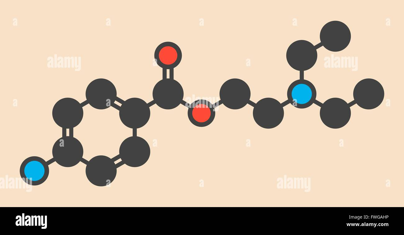 Procaine topical anesthetic drug molecule Stylized skeletal formula (chemical structure) Atoms are shown as color - Stock Image