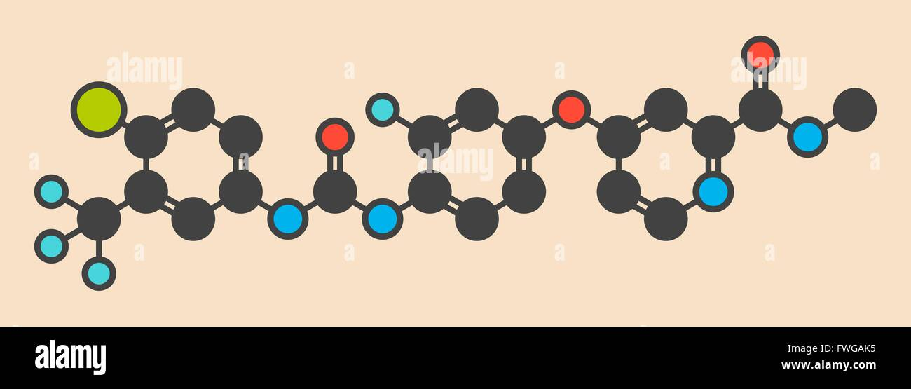 Regorafenib cancer drug molecule Stylized skeletal formula (chemical structure) Atoms are shown as color-coded circles: - Stock Image