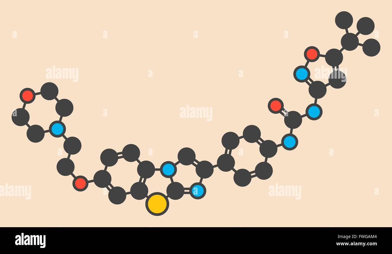 Quizartinib investigational acute myeloid leukaemia (AML) drug chemical structure Stylized skeletal formula (chemical - Stock Image