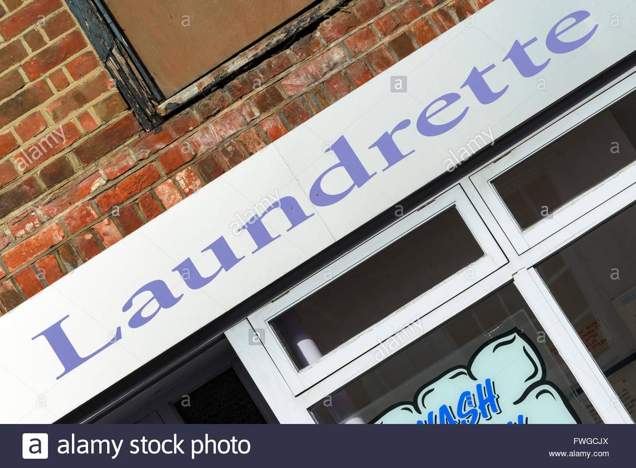 Laundrette, Blandford Forum, Dorset England UK Stock Photo