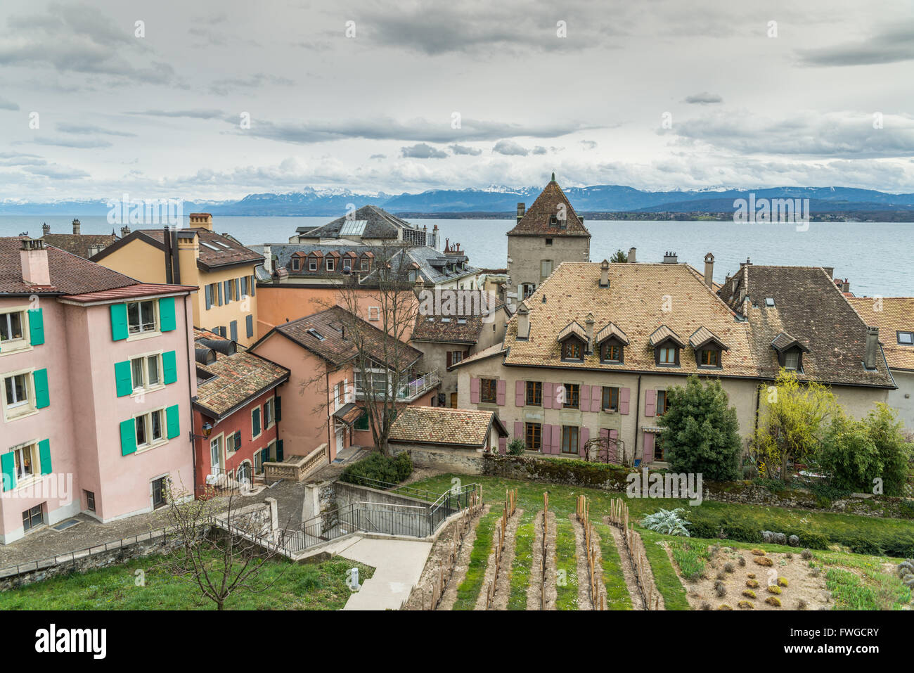 View over rooftops and Lac Leman, in Nyon, Switzerland. - Stock Image