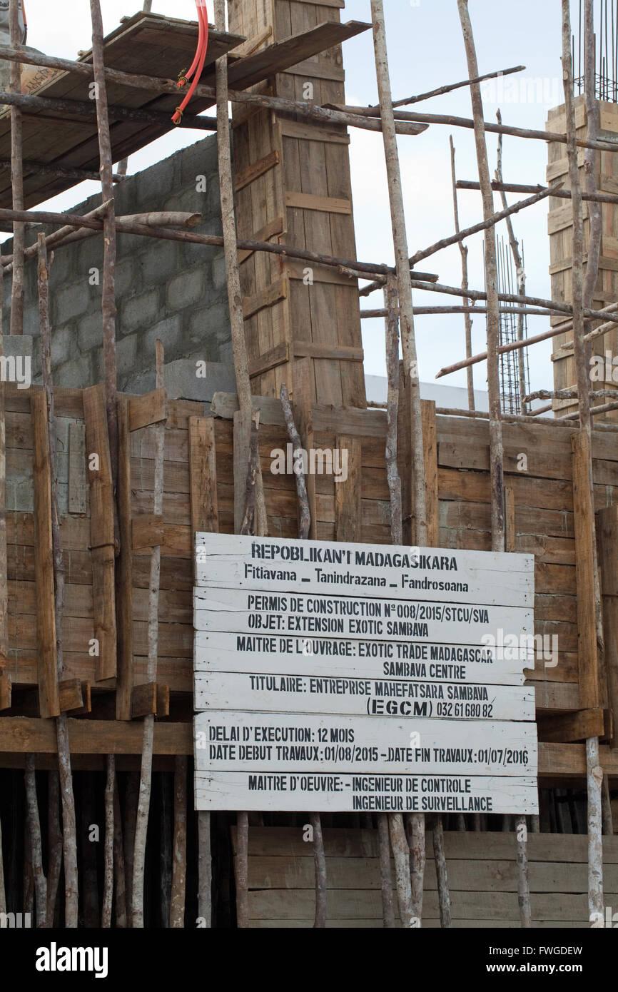 Building Construction. Timber Scaffolding. Sambava. Madagascar. - Stock Image