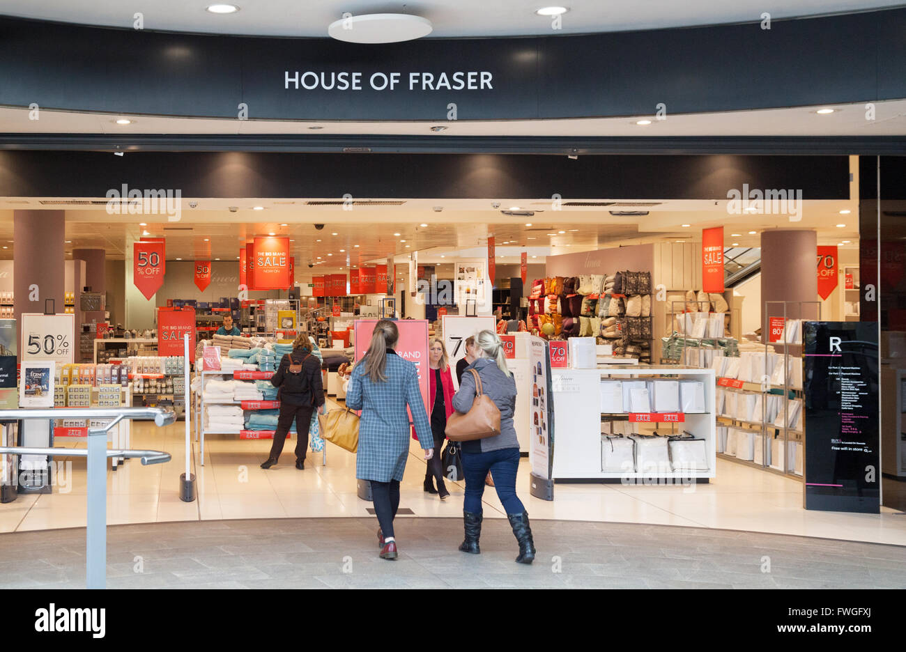 Shoppers entering the House of Fraser store, The Oracle Shopping Centre, Reading, Berkshire UK - Stock Image