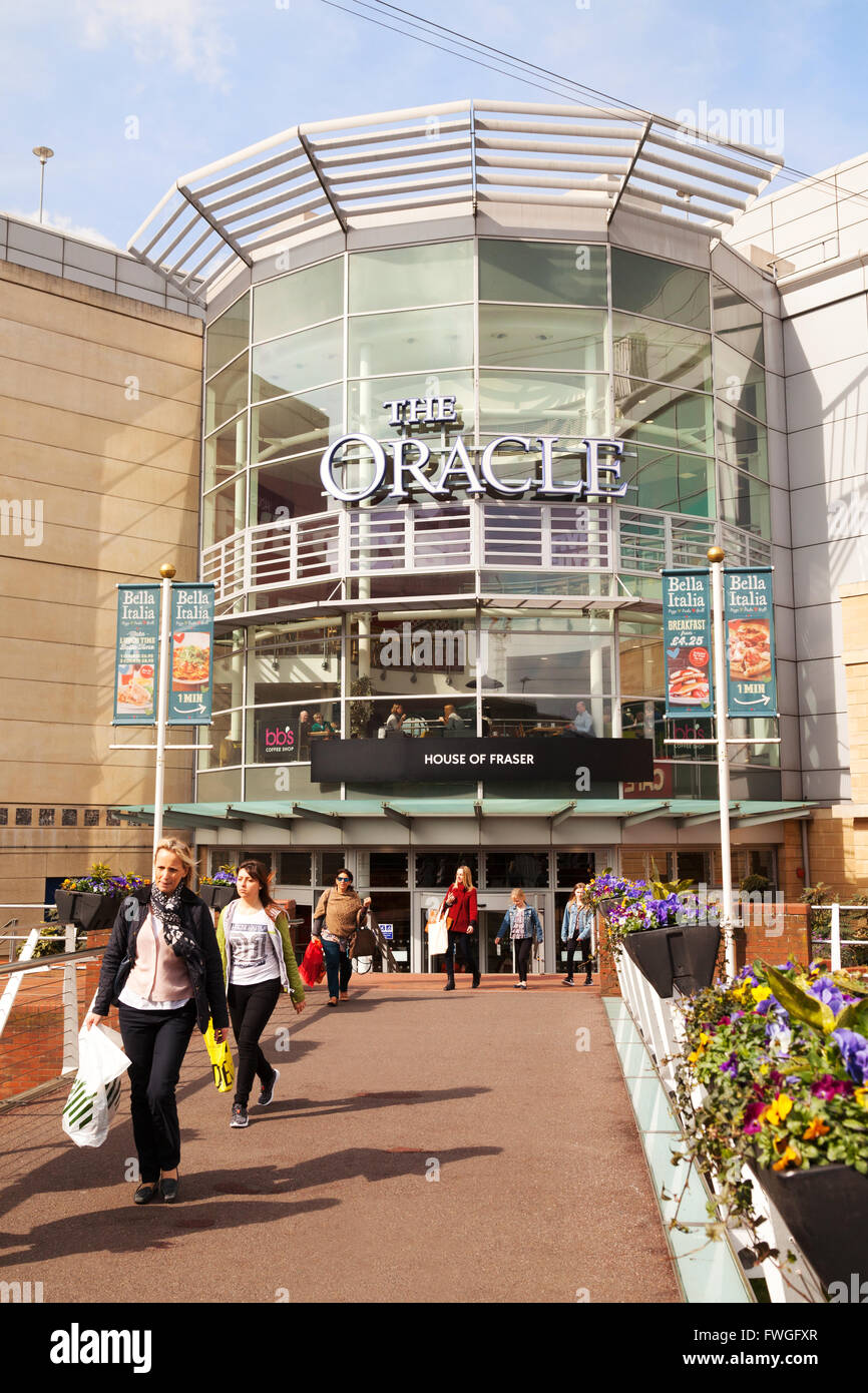 The Riverside entrance, The Oracle Shopping Centre, Reading, Berkshire UK - Stock Image