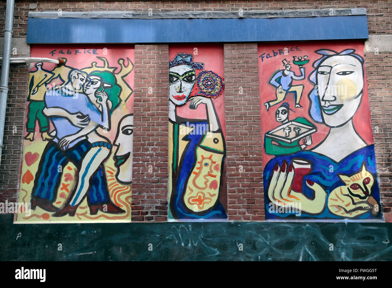 Street art by Fabrice Hünd (Fabrice Hund) on Begijnensteeg in Amsterdam, Netherlands. - Stock Image