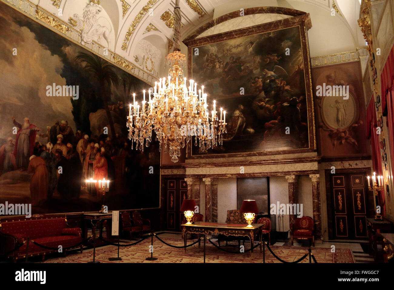 The City Council Chamber inside the Royal Palace in Amsterdam, Netherlands. - Stock Image