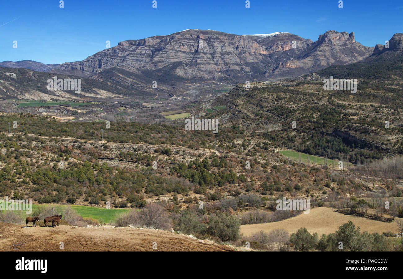 Mountains of Sis and Isabena Valley in the Aragonese Pre-Pyrenees, Spain. - Stock Image