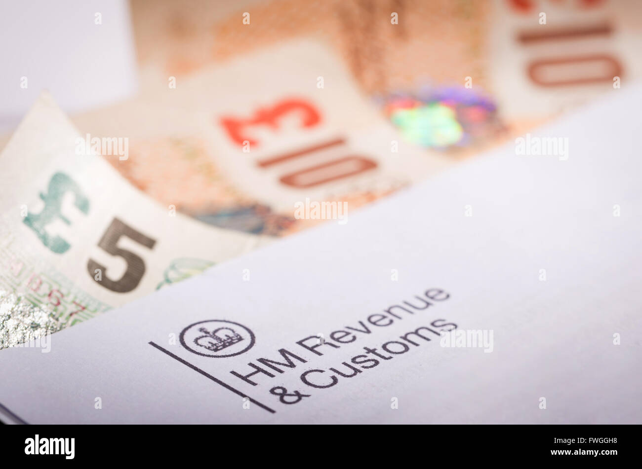 Inland Revenue tax letter with money - Stock Image