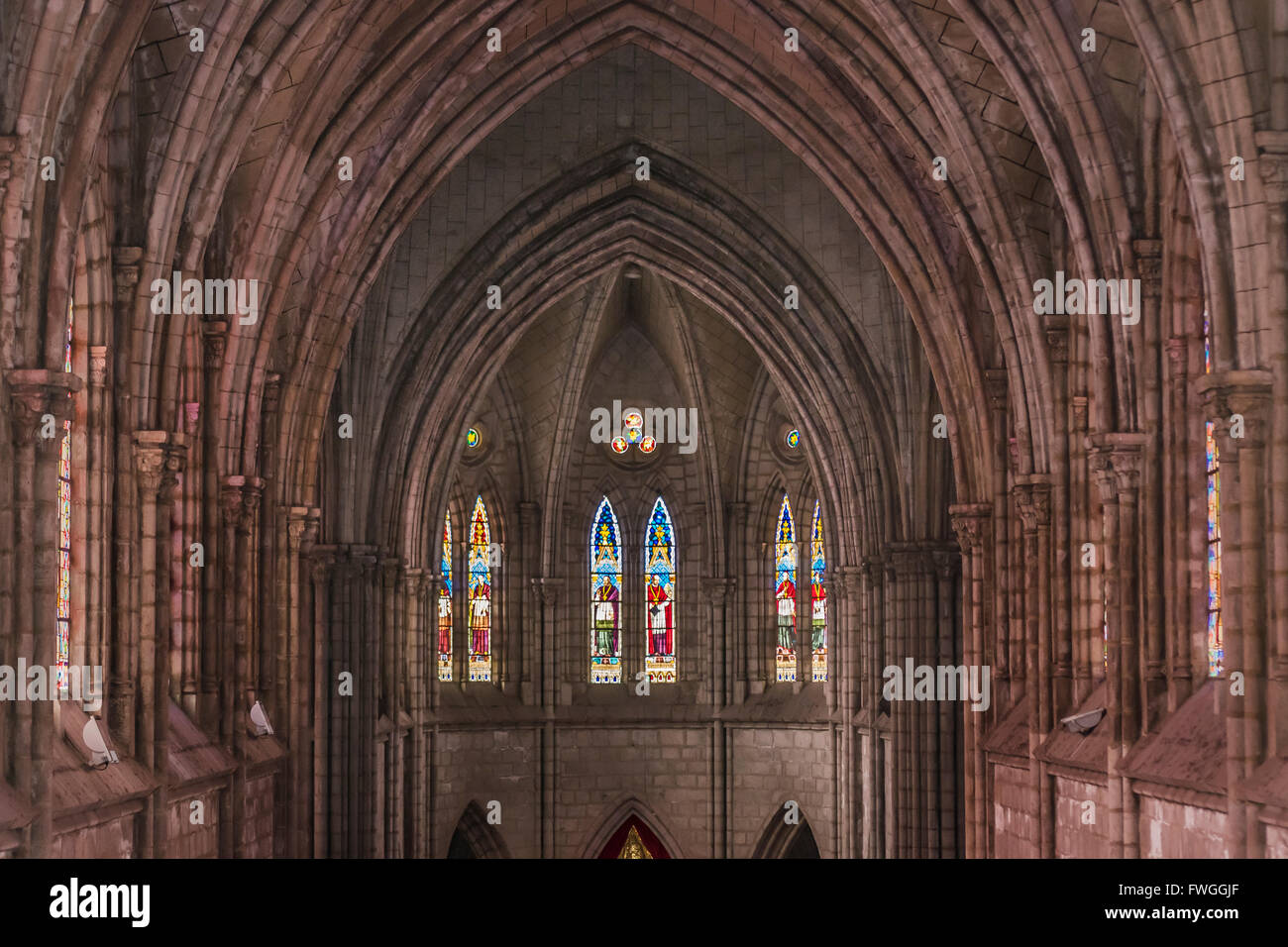 Interior View Of Main Craft Neo Gothic Style San Juan Basilica Church Located In Quito Ecuador