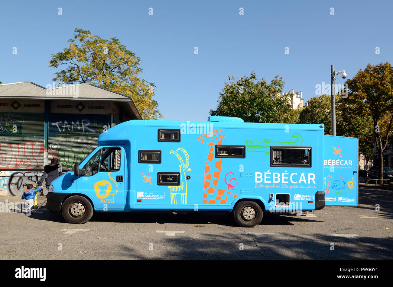 Mobile Crèche, Day Nursery or Play School in Converted Bus or Truck known as Bébécar or Babycar Marseille - Stock Image