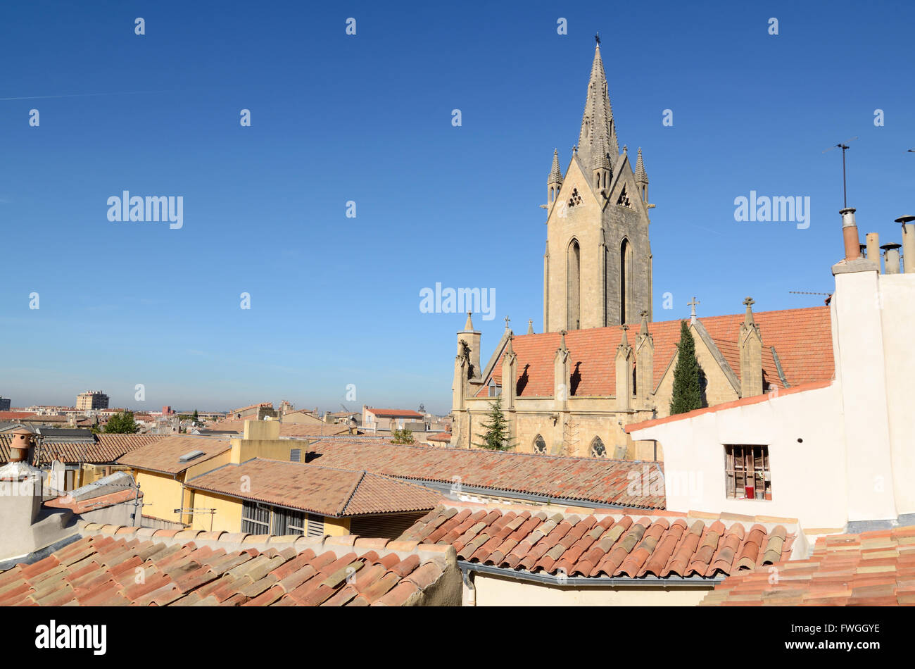 View and Spire of the c13th Gothic Church or Eglise Saint-Jean-de-Malte & Rooftops of Aix-en-Provence Provence - Stock Image