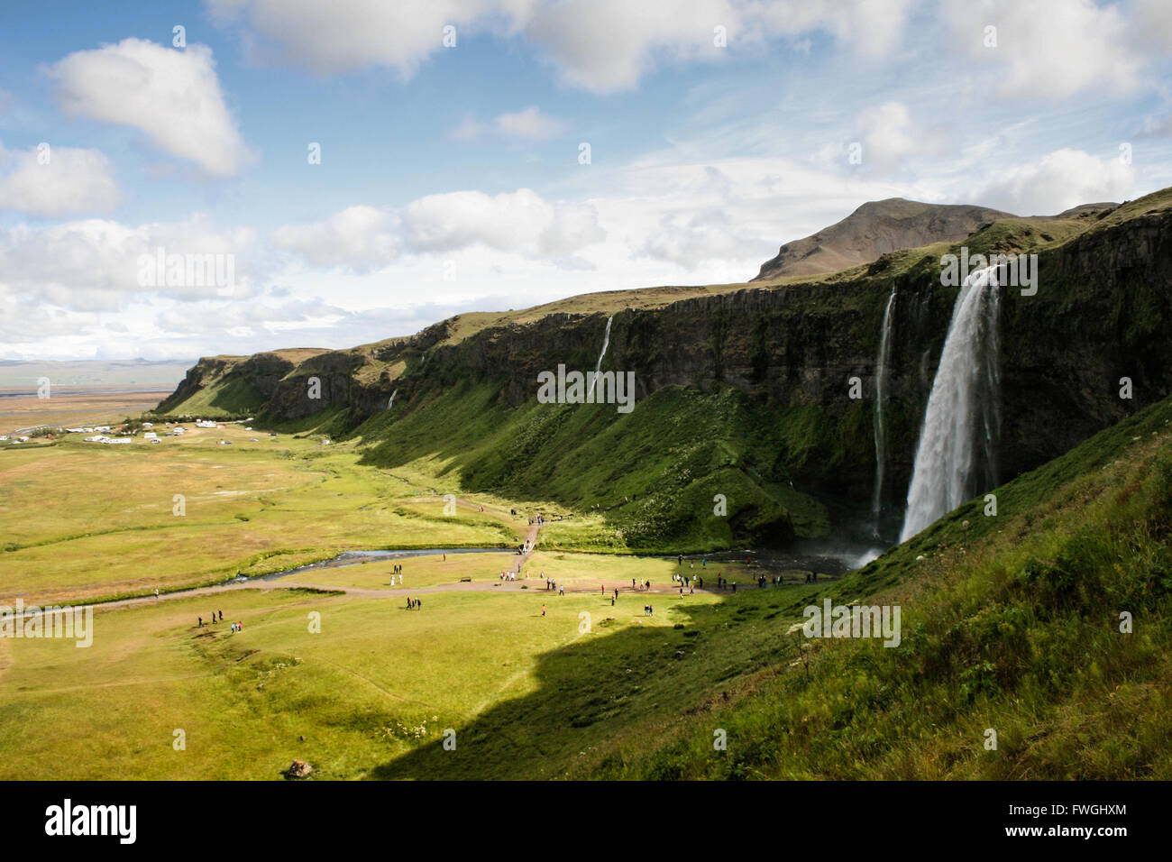 Landscape View With Waterfall - Stock Image