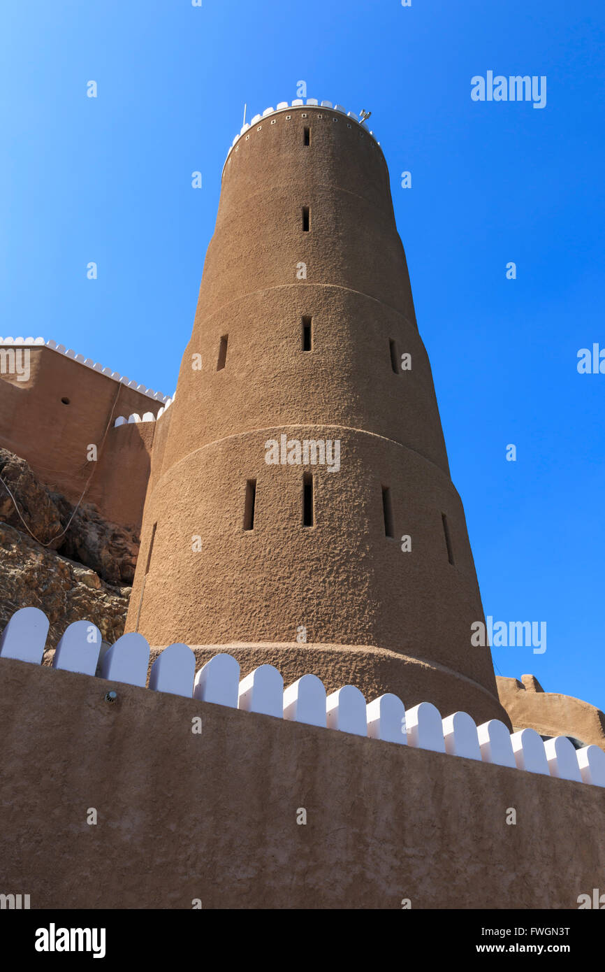 Tower of Al-Mirani Fort, Old Muscat, Oman, Middle East - Stock Image