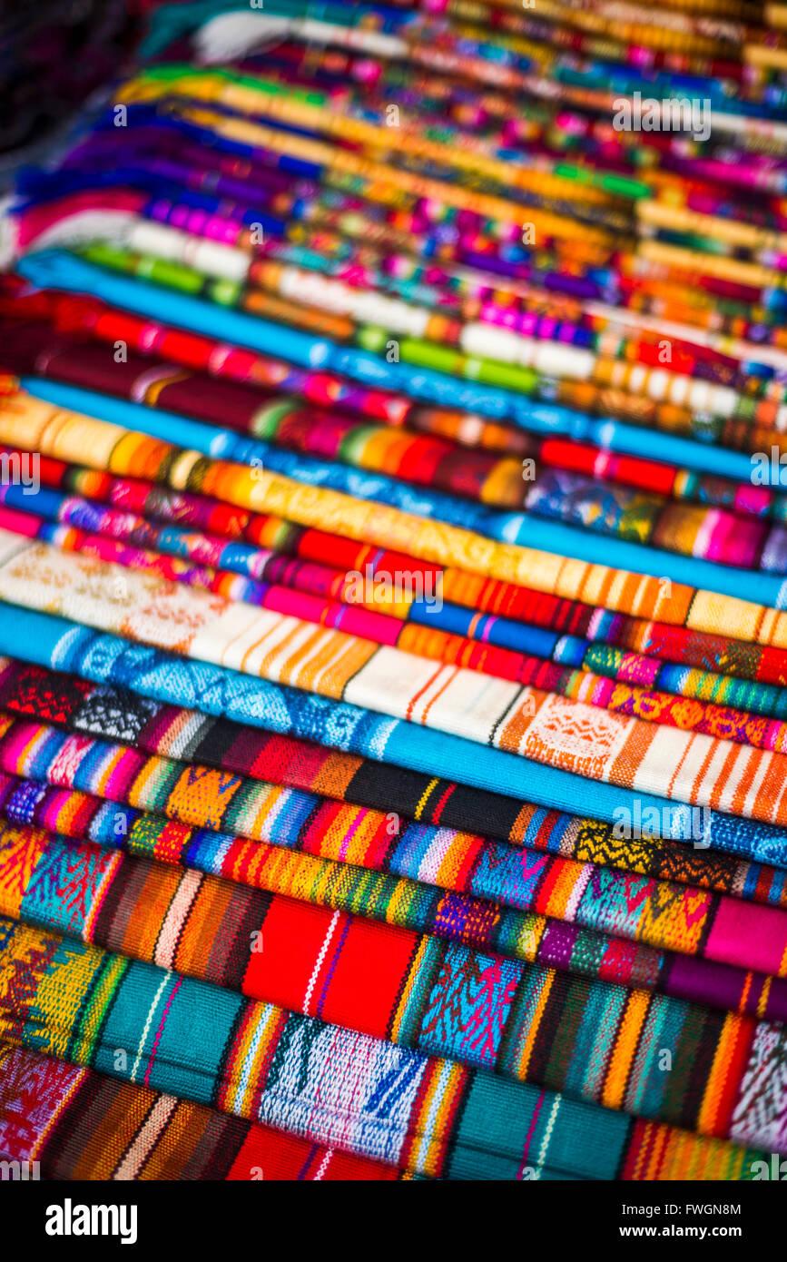 Scarves for sale in Otavalo Market, Imbabura Province, Ecuador, South America - Stock Image